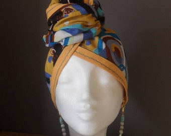 Turban headband Chiwax WAX fabric with geometric patterns in blue, Brown, yellow and white