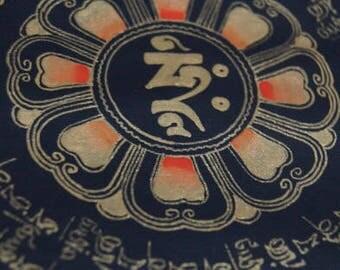 24 by 24 cm Goldtone Mandala Wall Art Tibetan Thangka Painting for Gift
