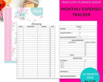 B6 12 Month Expenses Tracker Travelers Notebook Planner Insert Printable