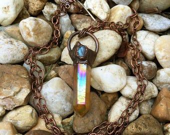 Aura Quartz Necklace, Raw Moonstone Necklace, Crystal Talisman Necklace, Dark Copper Necklace, Orange Aura Quartz and Moonstone Jewelry