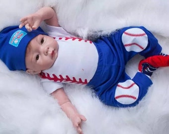 """Reborn American Baby Doll  """"TYLER"""" 22 Inch Interchangeable Silicone/Vinyl Life Like Collectible/Toy/Gift"""