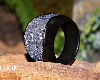 Unique handmade wooden ring by Balnor Design - black and silver, ebony and galena crystals