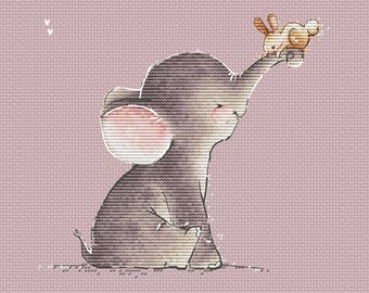 Baby Elephant Counted Cross Stitch Pattern Instant download printable PDF file Nursery Decor Elephant with bunny cross stitch chart