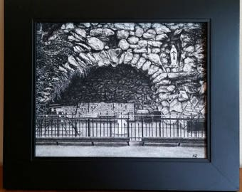 Print- Notre Dame Grotto Charcoal Drawing GICLEE PRINT