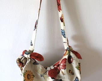 handmade cotton shoulder bag with floreal, butterfly pattern-heavy cotton shoulder bag with flower and butterflies