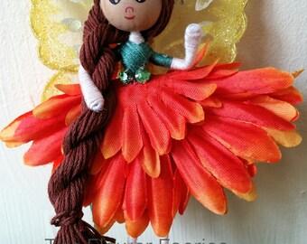 Flower fairy -Sparkly orange