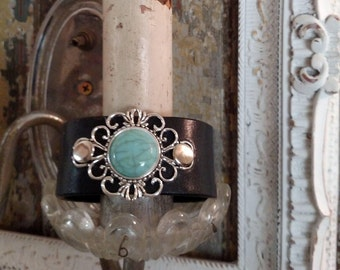 Leather Cuff Bracelet, Black and Turquoise
