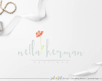 Premade Logo, Watermark, blog logo, photography logo, florist logo, fashion logo, beauty logo, watercolor logo, wedding logo, poppy