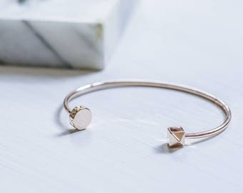 Rose Gold geometric bangle, stacking bangle, minimalist, bridesmaid gift, gift for her, pink gold, bridesmaid gift, wedding accessory