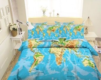 World map bedding etsy 3d world map 89 bedding bed pillowcases quilt duvet cover set twin single size full size gumiabroncs Gallery