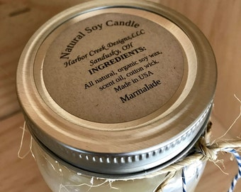 Organic, Natural Soy Candles, Cotton Wick