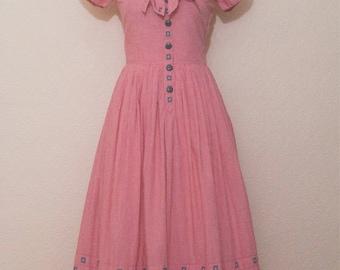 1950's orange-red  gingham Carlye Dress