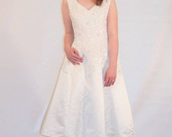 Vintage upcylced tea length wedding dress