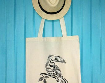 Tote bag / Tote / unbleached organic cotton novelty Toucan