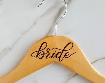Bride Hanger, Bridesmaid Hanger - Engraved Handwritten Calligraphy - Wedding Dress Hanger