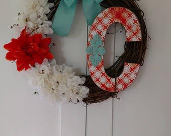 Custom letter C wreath.