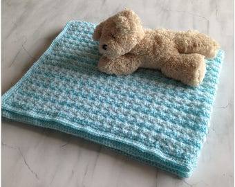 Hand crochet baby blanket in turquoise, baby shower gift, unique, immediate shipping, for cot, pram, car seat or Moses Basket