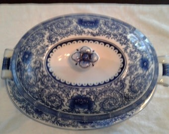 Chinoisserie Blue and White Serving  Platter and Soup Bowl