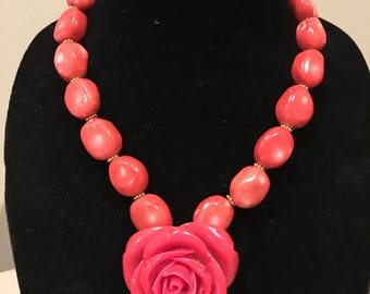Joy Coral Necklace with Red Stone Flower Pendant by Dobka