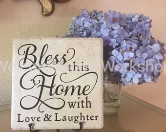 HOUSEWARMING TILE & EASEL, Housewarming Gift, Closing Gift, Established Sign, Name Sign, Hostess Gift, Custom Gift