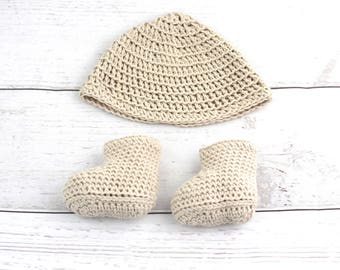Beige newborn set, unisex baby set, newborn shoes, newborn hat, summer, newborn gechenk, baptism, baby photo, cotton