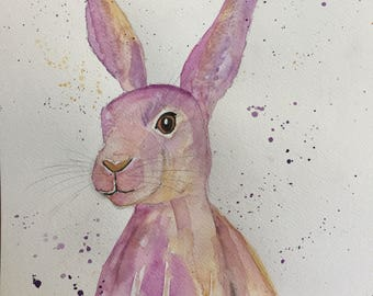 Original Watercolour Harvey the Hare Wildlife Painting A3