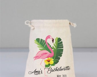 Flamingo Bags, Beach Wedding, Wedding Gifts, Leaf Cotton Bag Bachelorette Party Favors, Drawstring Mini Favor Bags, Personalized Party Favor