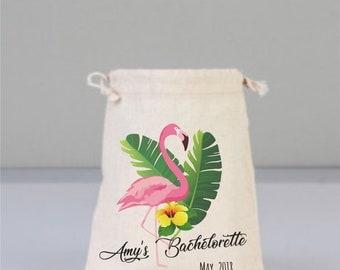 Flamingo Bags, Beach Wedding, Wedding Gifts, Cotton Bag, Bachelorette Party Favors, Drawstring Mini Favor Bags, Personalized Party Favor