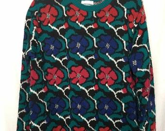 Vintage 80s Alfred Dunner Flower Pullover Sweater