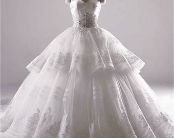 Wedding dress bridal dress White embroidery Ivory Baroque lace wedding gown vintage bridal gowns lace bridal dress