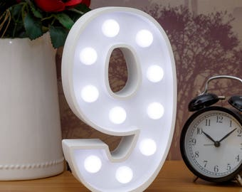 "Light Up Number 9 (Nine) - 23cm (9"") high sign, Illuminated White Wooden Marquee Letters with LED Lights Wall Hanging or Freestanding"