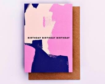 Happy Birthday Pastel Painterly Card, Birthday Card, Fashion Stationery, Fashion Card, Pink, Fashion Gift, Bday Card, Cool Card, Brushstroke