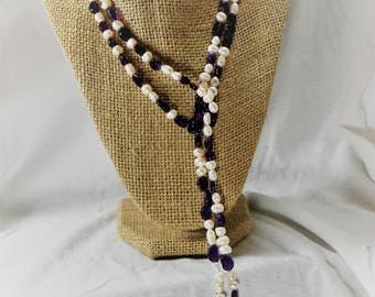 Amethyst and Pearl Lariat