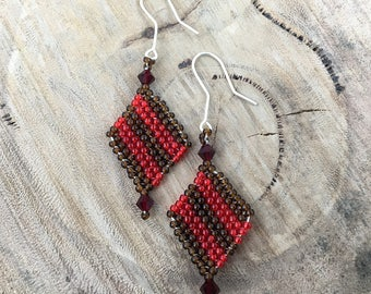 Brown and red diagonal striped diamond-shaped dangle earrings, bead woven with red crystals and 925 sterling silver hooks