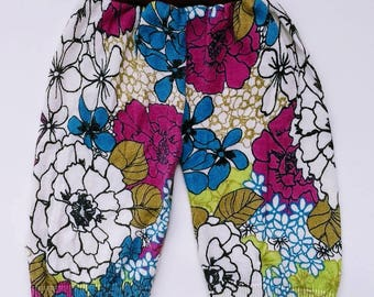 Upcycled floral sweater pants