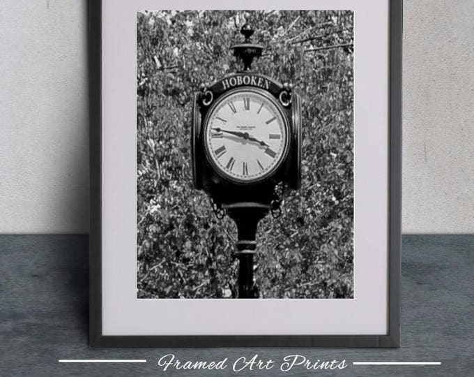 Black and White Hoboken New Jersey Antique Clock Art Print Framed Photograph Industrial Modern Art Home Decor Photograph Framed wall art