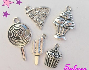 5 charm 19 mm mixed greed 35 / Cup cake pie Eskimo ice lollipop cupcake muffin metal silver
