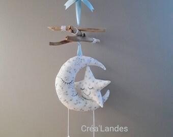Mobile Driftwood moons stars nursery decor kids baby birth gift
