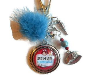 """Bag charm, door keys/MIDWIFE / """"Great midwife"""" / faby/gift/thank you/party/birthday/Christmas wonderland"""