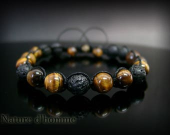 Wrap bracelet with lava stones and more Tiger eye: BN-366