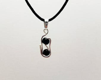 Necklace black waxed cotton with black beads and metal