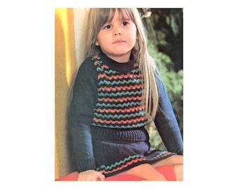 Girls Skirt & Sweater Set - Knitting Pattern - Zigzag Stripes Long Sleeve Matching Set