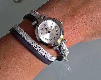 Leather double twist watch