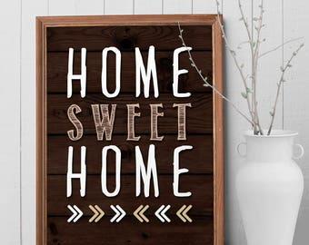 Home Sweet Home Art Print, Wall Decor, Wall Art, Rustic Home Decor, Home Decor, New Home Housewarming Gift, Home Sign, Home Gifts
