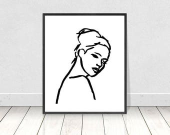 Black & White Print, Minimalist Wall Art, Female Form, Printable Art,Woman Sketch Illustration,Female Nude,Figure Drawing,Scandinavian Print