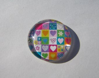 20 mm with hearts pattern colorful cabochons