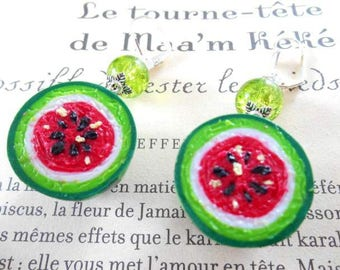 Earrings tropical Green Clay polymer green and red.