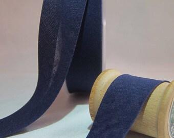 20 mm folded 10 DMC cotton blue bias