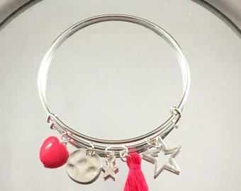 Fuchsia and silver charm Bangle Bracelet