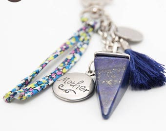 """Lapis Lazulis personalized medal engraved with """"planet"""" key holder"""
